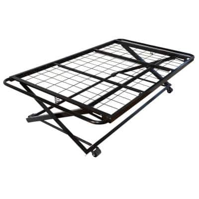 Black Twin Size Metal Pop Up Trundle Bed