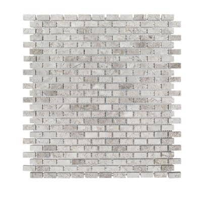 Stormy Knight Grey 12 in. x 12 in. Interlocking Polished Marble Stone Mosaic Tile (1 sq. ft./Each)