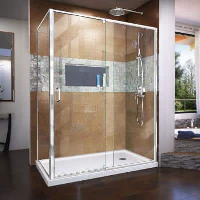 Flex 56 7/16 to 60 7/16 in. x 72 in. Framed Pivot Shower Enclosure in Chrome