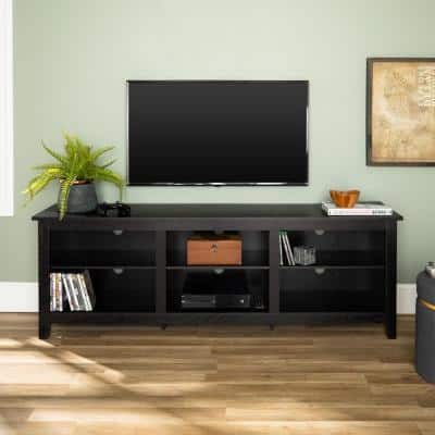 Columbus 70 in. Black MDF TV Stand 70 in. with Adjustable Shelves