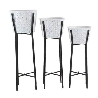 Contemporary 28 in., 32 in. and 36 in. Round White Iron Planters with Black Stand (Set of 3)