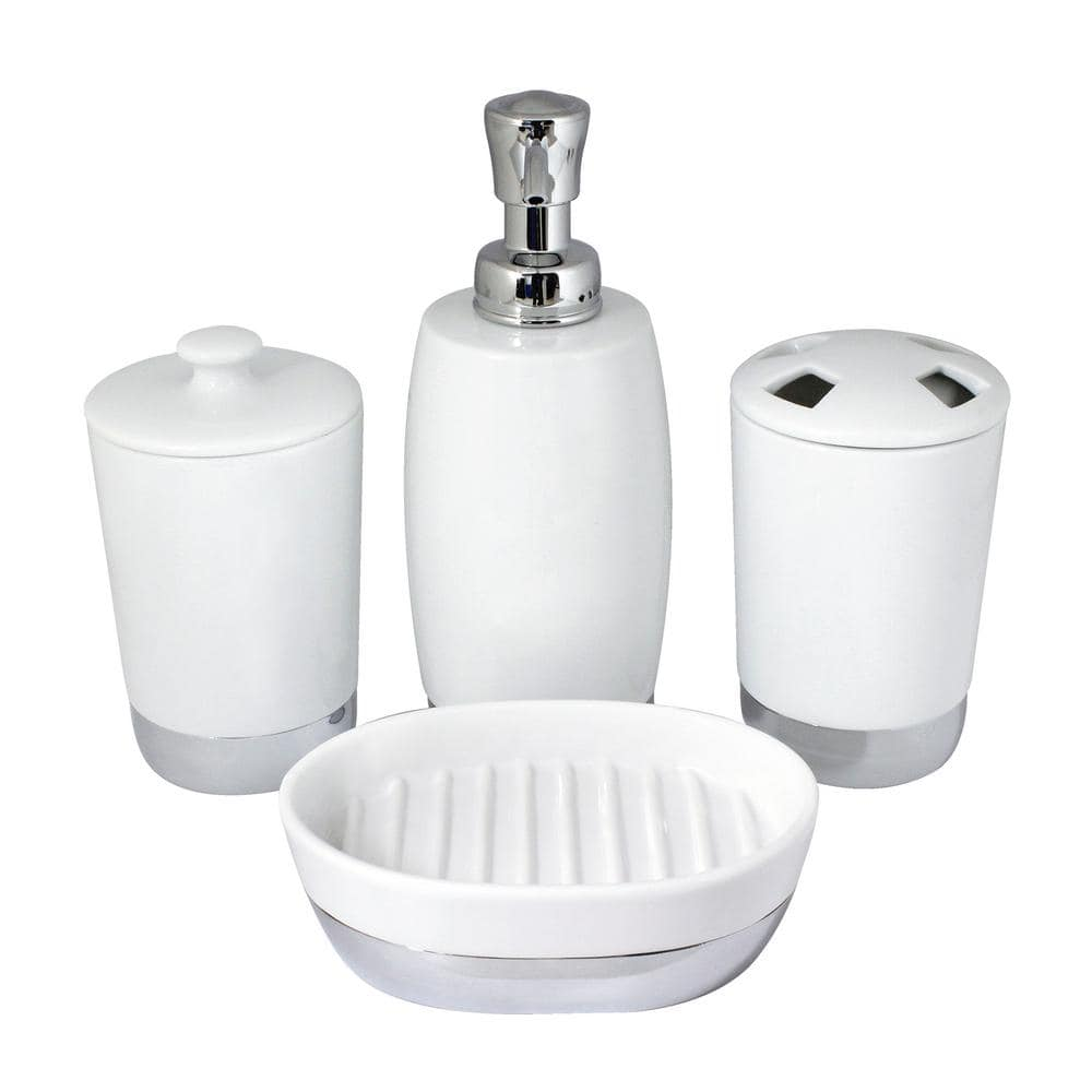 Modona Arora 4 Piece Bathroom Accessories Set In White Porcelain And Polished Chrome Bs01 4p A The Home Depot