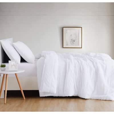 Carlisle Stripe 3-Piece White Duvet Cover Set