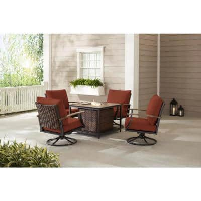 Fiddler's Creek 5-Piece Brown Metal Outdoor Patio Fire Pit Seating Set with CushionGuard Quarry Red Cushions