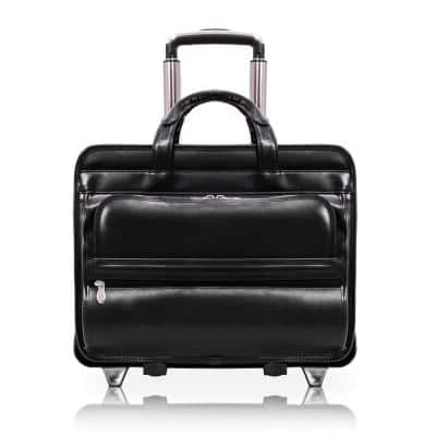 McKlein Franklin Top Grain Cowhide Black Leather 15 in. Patented Detachable Wheeled Laptop Briefcase
