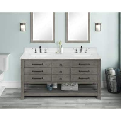 Nashua 61 in Bath Vanity in Gray with Engineered Stone Vanity Top in White with Basin