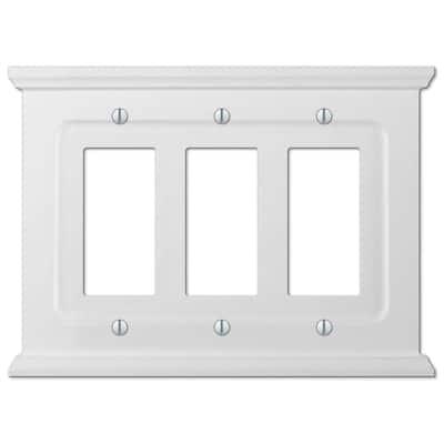 Mantel 3 Gang Rocker Wood Wall Plate - White