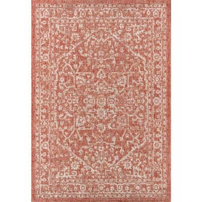 Malta Bohemian Medallion Red/Taupe 7 ft. 9 in. x 10 ft. Textured Weave Indoor/Outdoor Area Rug