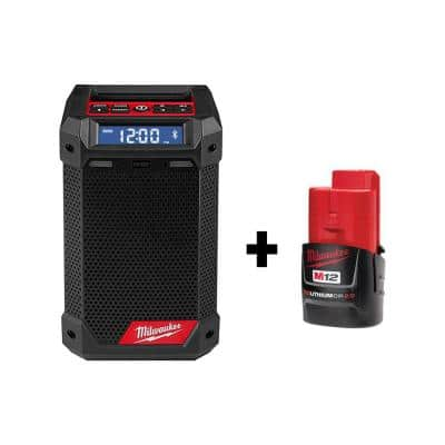 M12 12-Volt Lithium-Ion Cordless Bluetooth/AM/FM Jobsite Radio with Charger with M12 2.0Ah Battery