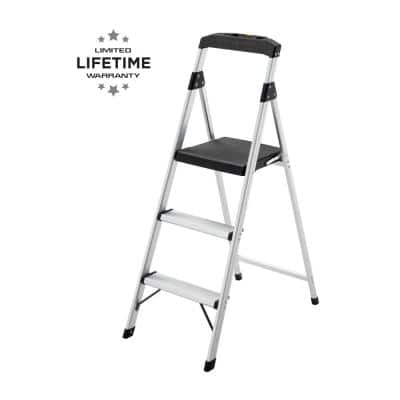 3-Step Aluminum Step Stool Ladder, 250 lbs. Type I Duty Rating