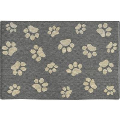 Comfy Pooch Gray/Tan Paw 23.6 in. x 35.4 in. Pet Mat