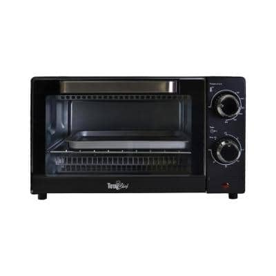 1,000 W 4-Slice Black Toaster Oven with Timer and Temperature Control