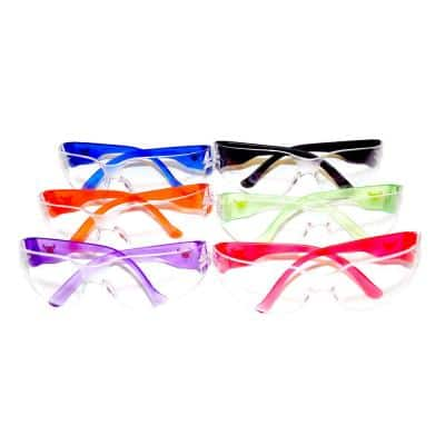 EyePro Clear Lenses, Safety Goggle, Scratch, Impact and Ballistic Resistant, 6 Colors (6-Pack)