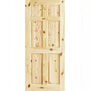 32 in. x 80 in. x 1.375 in. 6-Panel Colonial Double Hip Knotty Wood Interior Door Slab