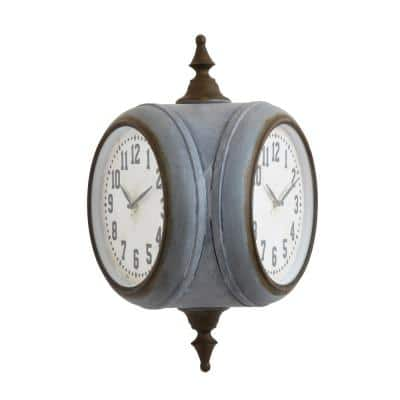 Grey Double Sided Wall Clock