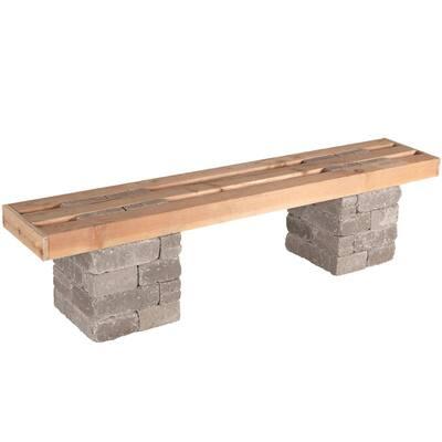 RumbleStone 72 in. x 17.5 in. x 14 in. Concrete Garden Bench Kit in Greystone