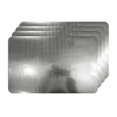 Crocodile Skin Silver Metallic Textured Placemat (Set of 4)