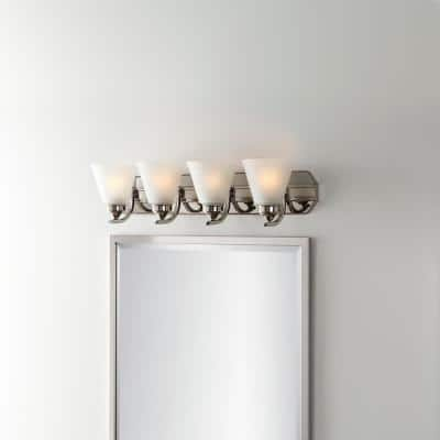 Tavish 4-Light Brushed Nickel Vanity Light with Frosted Shades