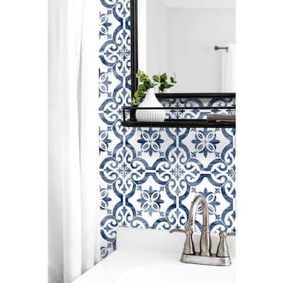 Porto Tile Riviera Blue Geometric Vinyl Peel & Stick Wallpaper Roll (Covers 40.5 Sq. Ft.)
