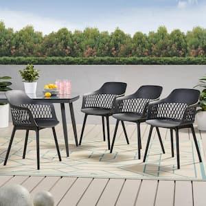 Azalea Black Plastic Outdoor Dining Chair (4-Pack)