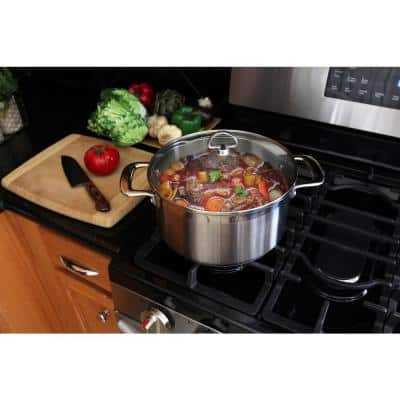 Induction 21 Steel 6 qt. Round Stainless Steel Casserole Dish in Brushed Stainless Steel with Glass Lid