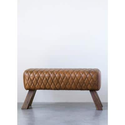 Brown Stitched Leather and Wood Bench