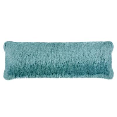 Soleil Shag Solid Blue Lumbar Outdoor Throw Pillow
