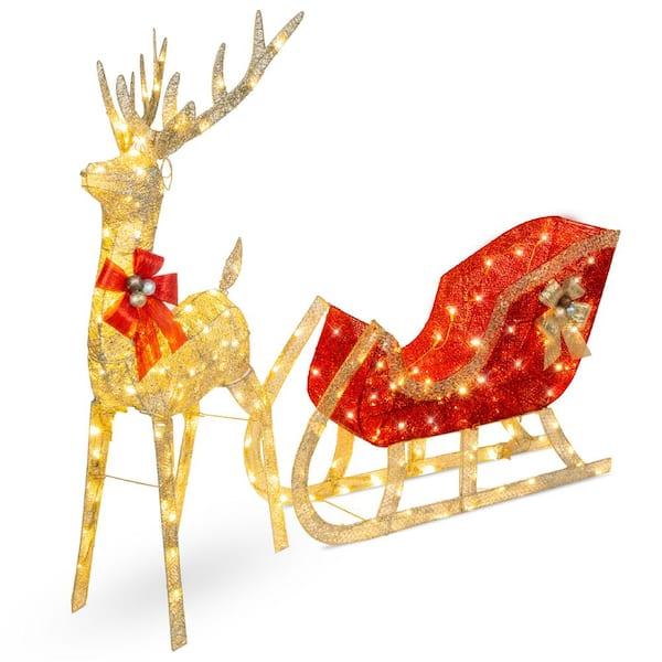 OUTDOOR GOLD SANTA SLEIGH Christmas Yard Decoration White LED Lights