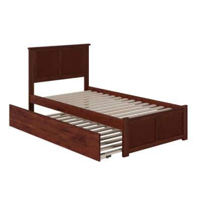 Madison Twin Extra Long Bed with Footboard and Twin Extra Long Trundle in Walnut