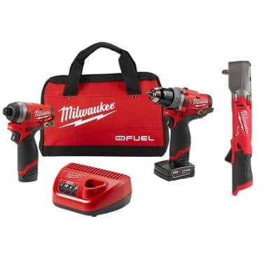 M12 FUEL 12-Volt Li-Ion Brushless Cordless Hammer Drill/Impact Combo Kit (2-Tool) with Right Angle Impact Wrench