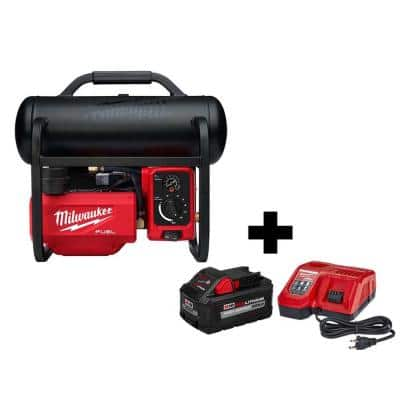 M18 FUEL 18-Volt Lithium-Ion Brushless Cordless 2 Gal. Electric Compact Quiet Compressor Kit W/ 8.0 Ah Battery & Charger
