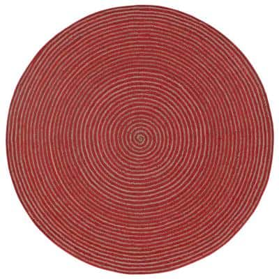 Jute and Red Cotton Racetrack 3 ft. x 3 ft. Round Area Rug