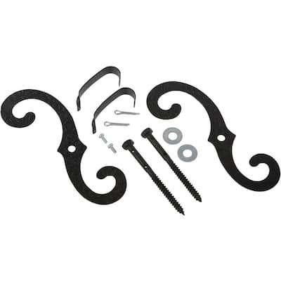 7 in. Black Stainless Steel Exterior Shutter S-Hooks (1-Pair)