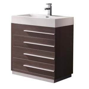 Livello 30 in. Bath Vanity in Gray Oak with Acrylic Vanity Top in White with White Basin