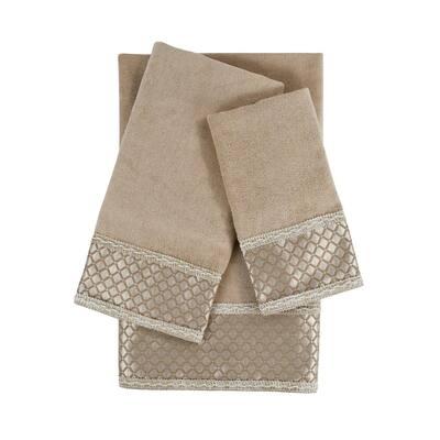 Manor 3-Piece Taupe Geometric Bath Towel Set