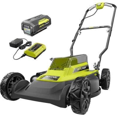 18 in. 40-Volt 2-in-1 Lithium-Ion Cordless Battery Walk Behind Push Mower 4.0 Ah Battery/Charger Included