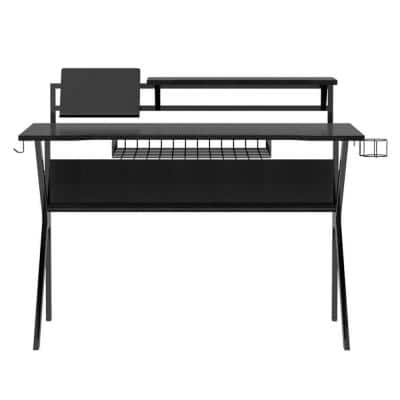 27 in. Black and Red Rectangular Gaming Desk with 2 Shelves and K Shape Leg Support