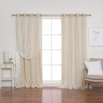 Beige Tulle Grommet Overlay Blackout Curtain - 52 in. W x 84 in. L  (Set of 2)