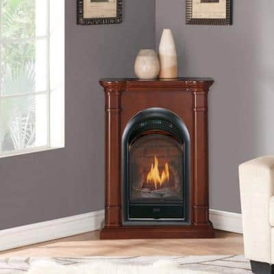 Duluth Forge Dual Fuel Ventless Gas Fireplace With Mantel - 15,000 BTU, T-Stat, Walnut Finish