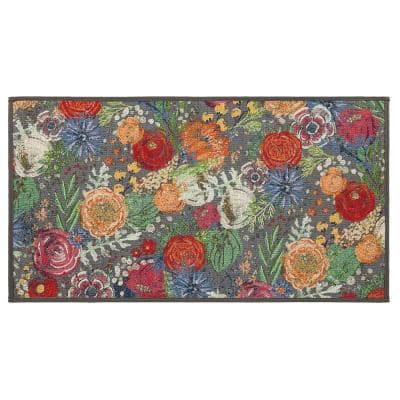 Flower Swirl 20 in. x 36 in. Tapestry Foam Indoor Kitchen Mat