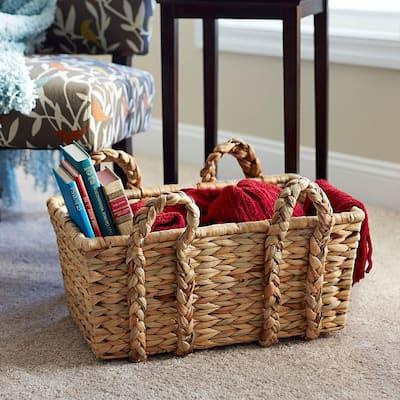 9.84 in x 20.9 in Rectangular Basket with Braid Handles