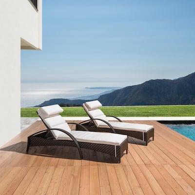 Barcelo 2-Piece Wicker Outdoor Chaise Lounge with Sunbrella Moroccan Cream Cushions