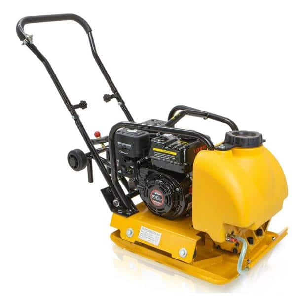 Stark 6 5 Hp Gas Plate Compactor Vibratory Asphalt Soil Tamper Rammer With Built In Water Tank 61006 H The Home Depot