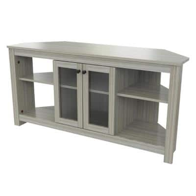 50 in. Washed Oak Wood Corner TV Stand Fits TVs Up to 60 in. with Adjustable Shelves
