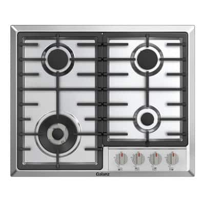 24 in. Gas Cooktop in Stainless Steel with 4 Burners including Triple Ring Power Burner and Simmer Burner