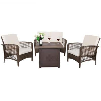Rattan 4-Piece Outdoor Wicker Sofa Patio Set with Beige Cushions and Fire Pit
