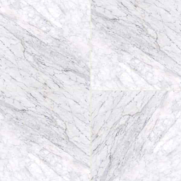 Msi Carrara White 12 In X 12 In Polished Marble Floor And Wall Tile 10 Sq Ft Case Tcarrwht1212 The Home Depot