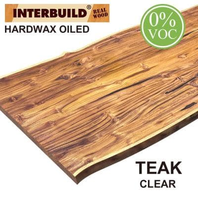 Solid Teak 6.6 ft. L x 31.5 in. D x 1.2 in. T Butcher Block Countertop in Clear with Live Edge