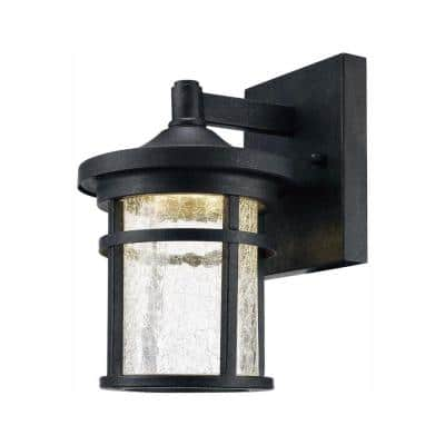 Westbury Collection Aged Iron Outdoor LED Wall Lantern Sconce with Crackle Glass
