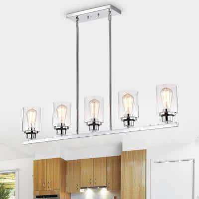 5-Light Brown Dimmable Contemporary Pendant for Kitchen Island and Dining Table with Clear Glass Shades
